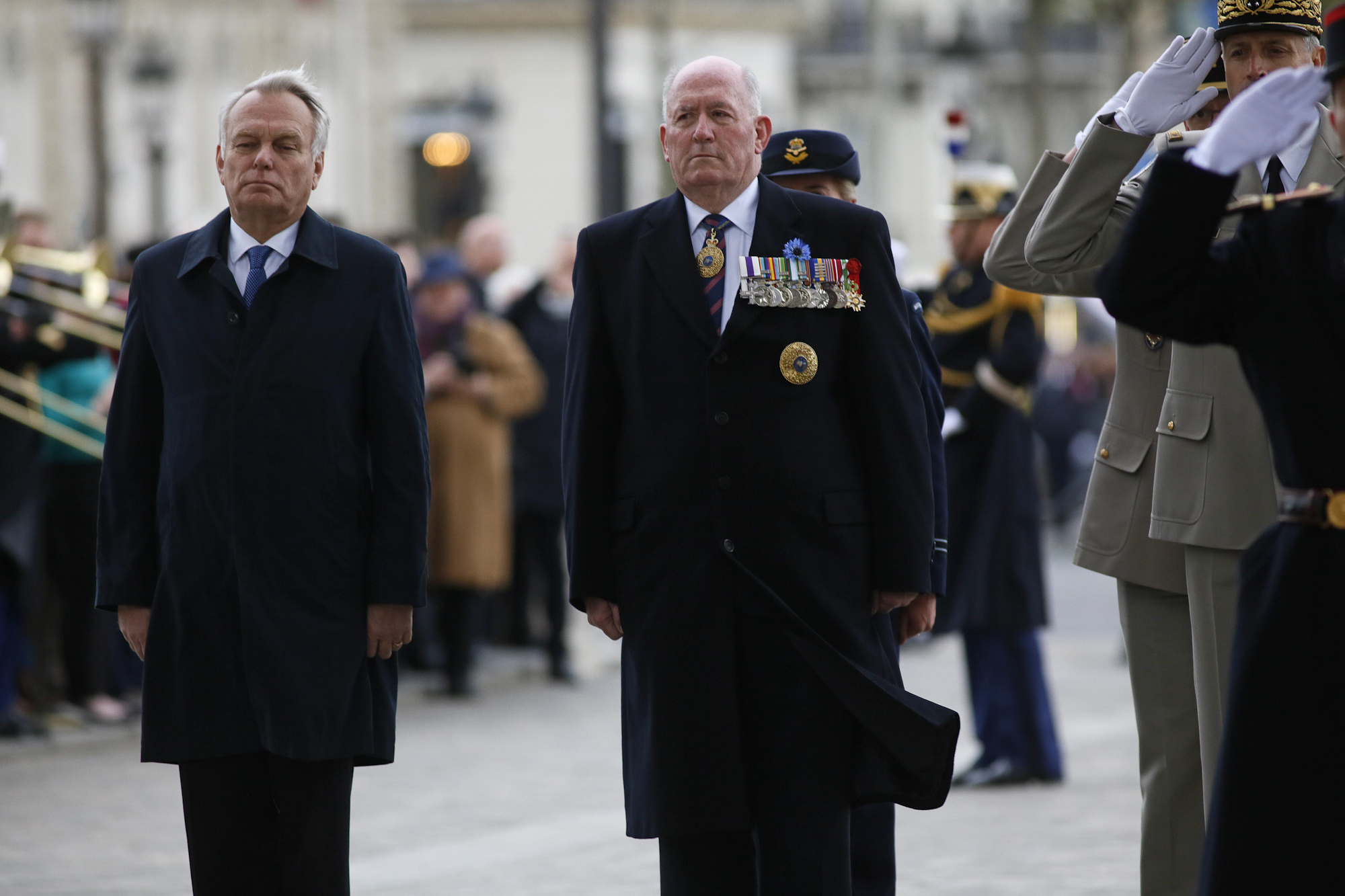 Ravivage (Rekindling Of The Unknown Soldier's Flame). With Foreign Affairs Minister Jean-Marc Ayrault at the Arc de Triomphe Monument, Paris.