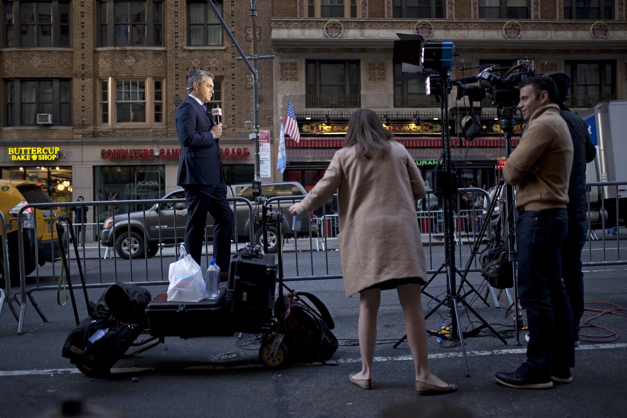 11.08.16: CNN's Jim Acosta Reporting From Trump's Last Presidential Meeting in Midtown Manhattan.