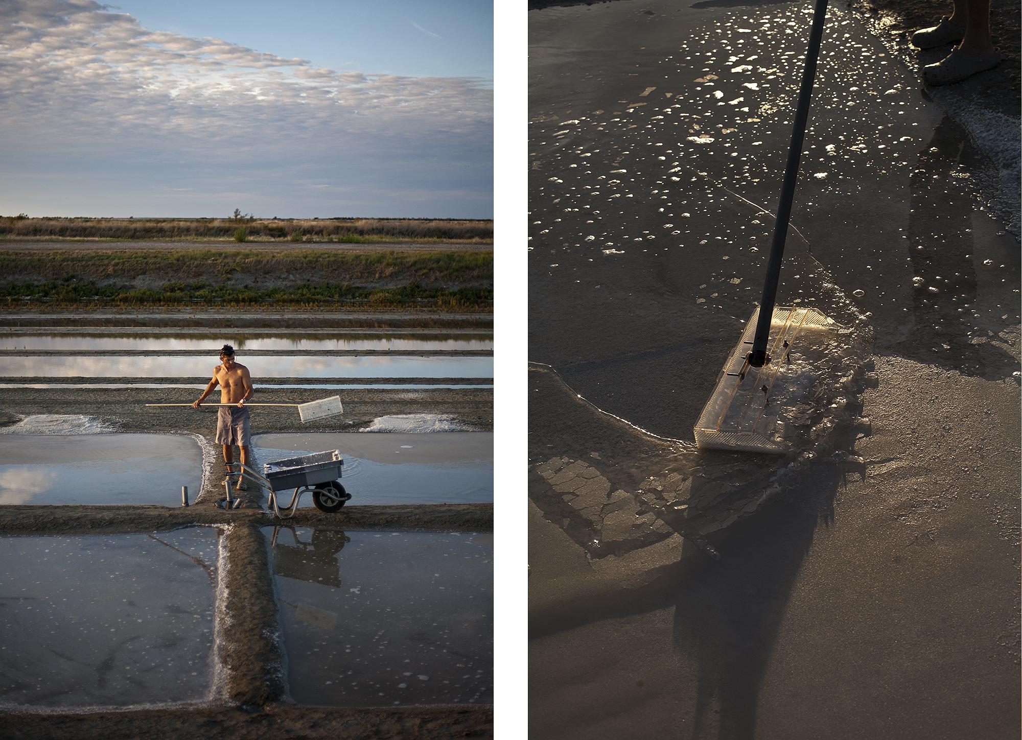 Emmanuel Mercier working on his salt fields