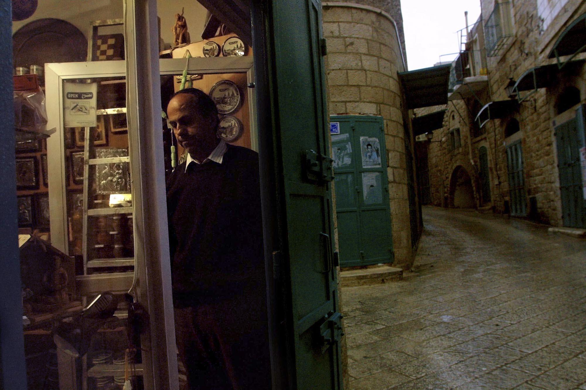 Bethlehem, Souvenir Shop Closing For Curfew, 2002