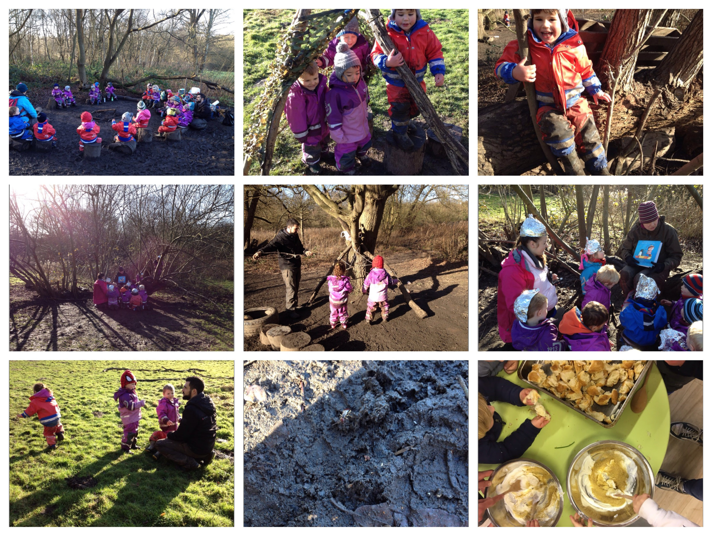 Climbing, running, playing in the forest and cooking