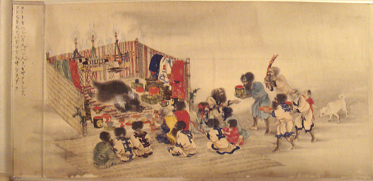 The Ainu Iomante ceremony (bear sending). Japanese scroll painting, circa 1870..jpg