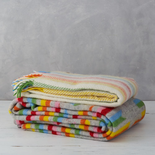 Large rainbow pure new wool blanket, £75