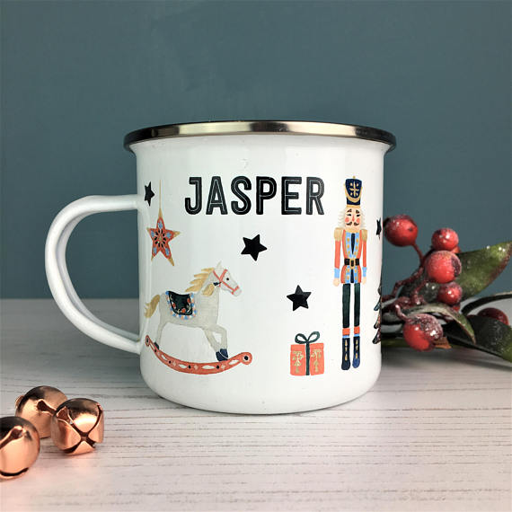 Personalised Christmas Mug, £12.95  There will be no arguing over who uses which mug this Christmas if everyone has their own personalised gorgeous festive mug. Enamel mugs with a gorgeous traditional inspired graphic that can be personalised are the perfect present for each mender of the family and can be used year after year.