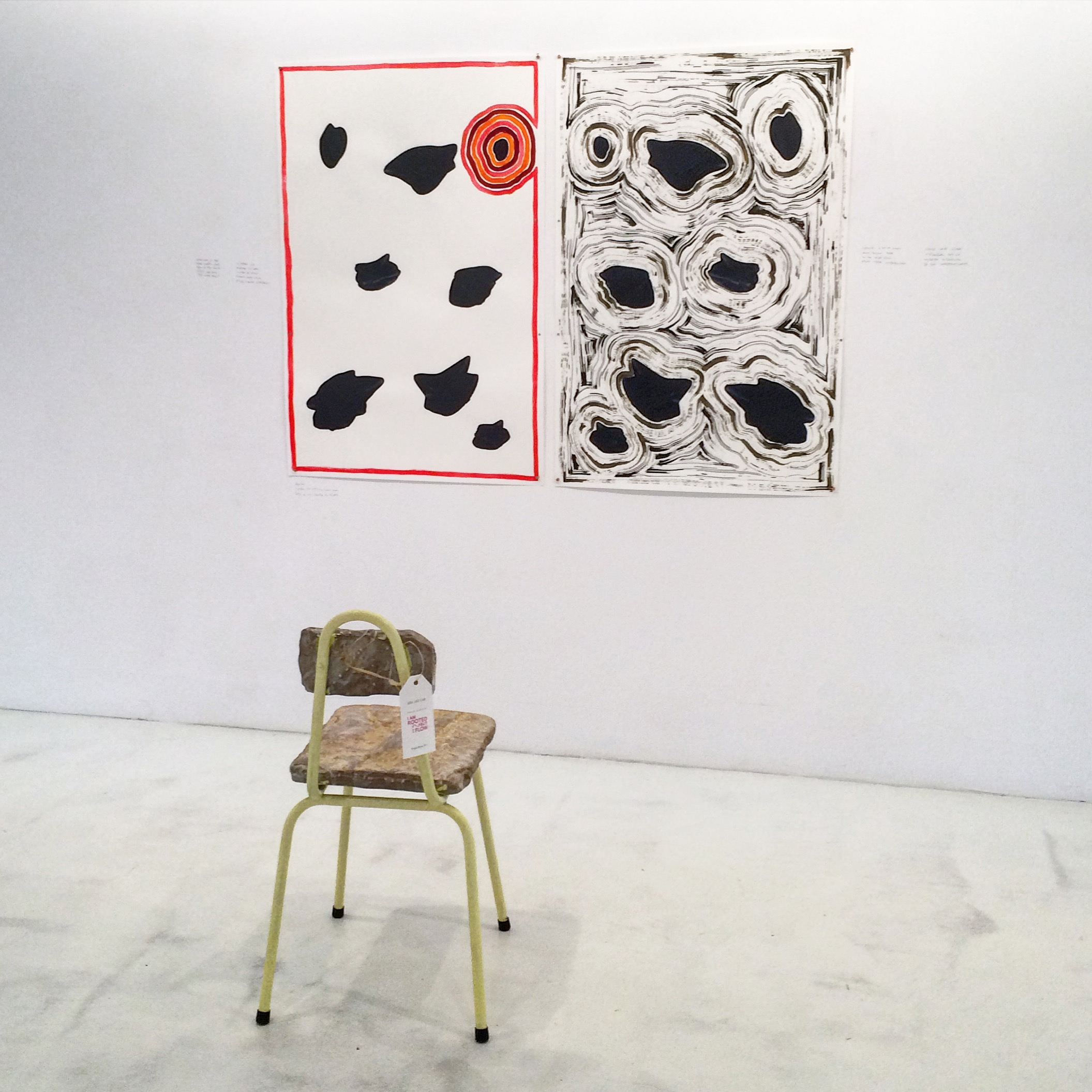 Agathes , 2015, Installations at ABA ART LAB in Mallorca, Acrylic and ink on paper, pencil on wall, essential oils and oil diffuser, chairs by Conalmadesign
