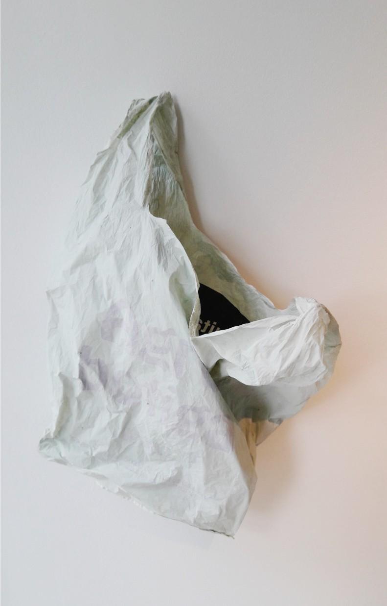 Agrobotiga , 2016, Acrylics on plastic bag (photo by Juan Cañizares).