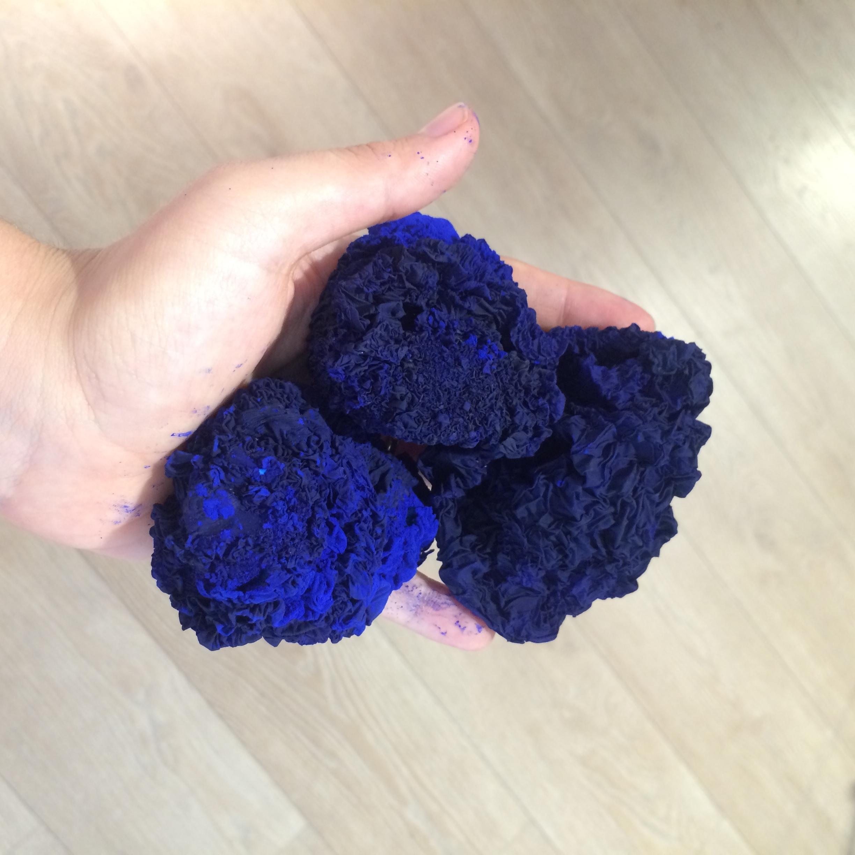 Three klein Blue  Inhale-Exhale , 2016, Latex, agrylics, pgiment.