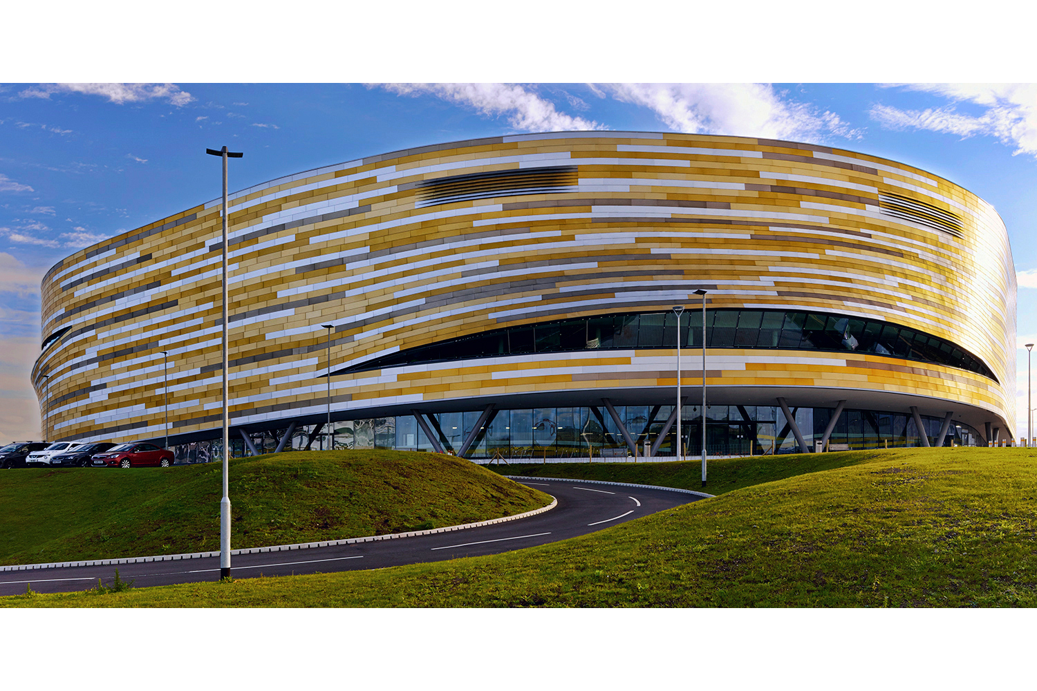 Architectural photography exterior: Derby Arena (Velodrome), Derby, Midlands, UK. Architects: Faulkner browns architects. Image (C) Matthewlingphotography.co.uk