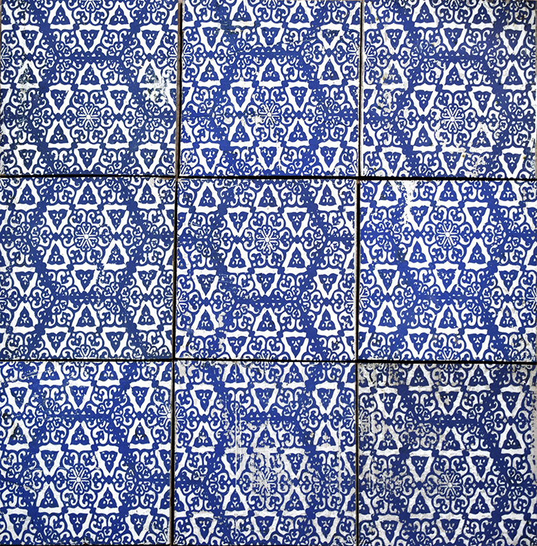 "Repeating 6"" Asal Tile in Blue"