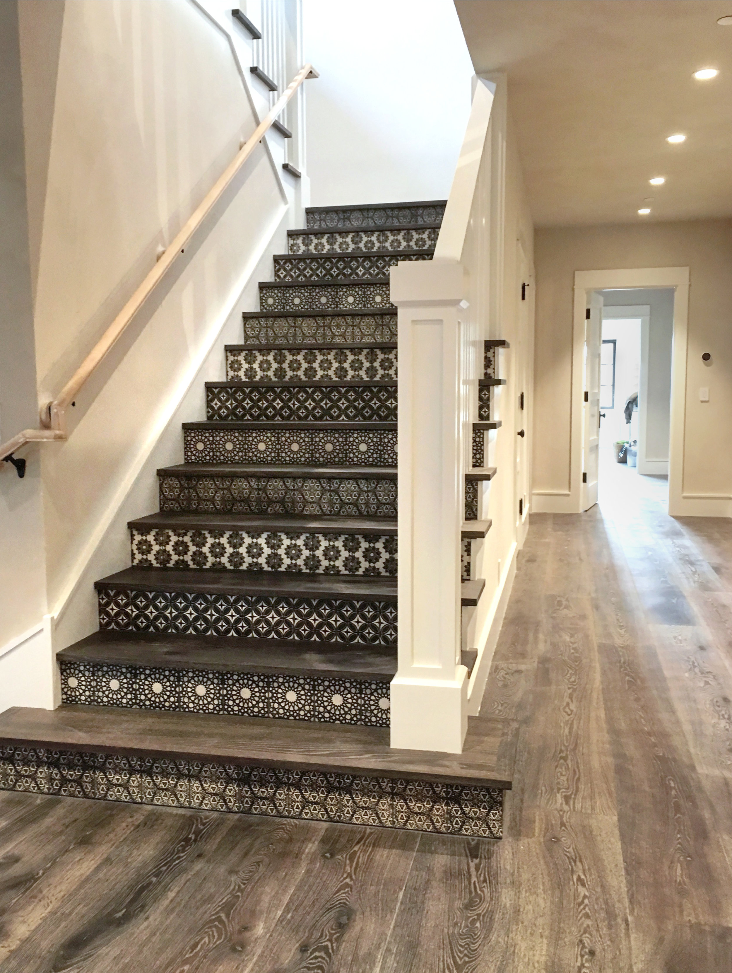 Staircase Risers with Alternating Tile Patterns