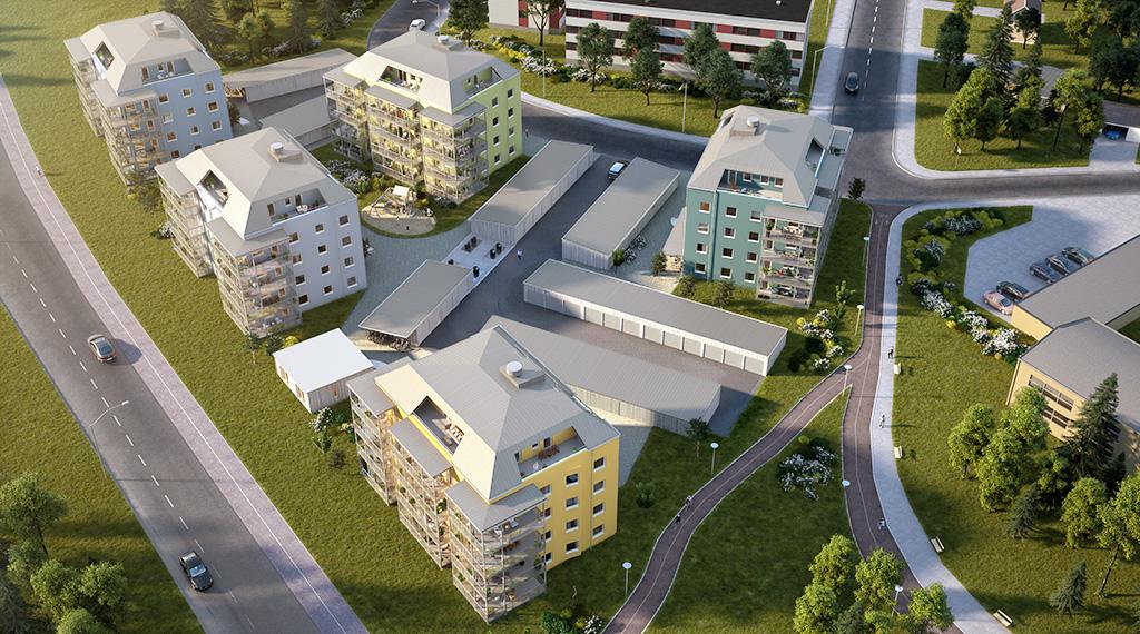 Arkitekbild: Området Karlgård i Skellefteå från ovan.