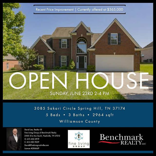 📣Open House Alert 📣 All brick, 5 bedroom home ready for you! Williamson County! Desirable Dakota Pointe subdivision. Open Sunday, June 23rd 2-4pm! #williamsoncountytn #realestate #tnrealestate #springhilltn #openhouse #openhousespringhilltn #finelivingnashville #middletnrealestate
