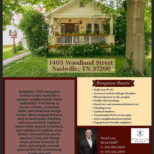 📣Open House Sunday, October 13th 2-4PM📣 Have you been waiting for the perfect East Nashville location? Charming 1920s bungalow located in the heart of Lockeland Springs. 3 beds, 2.5 baths; 1952 sq ft Walkability ☑️ Indoor/outdoor entertainment space ☑️ Details original to the home ☑️ Many updates including tankless water heater ☑️ Active neighborhood association ☑️ Geographic priority zone for Lockeland Design Center ☑️