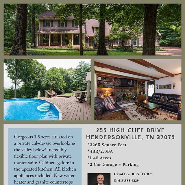 🚨 Open House Alert!!🚨 Sunday, October 20th 2-4PM Hendersonville beauty on almost 1.5 acres ! Private cul-de-sac with amazing views, backyard oasis, and flexible floor plan with 4 bedrooms and 2.5 baths!