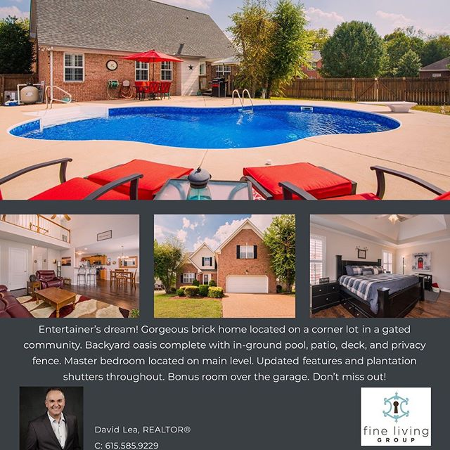 🚨Y'all, Open House this weekend!🚨 Sunday, October 20th 2-4PM! 1040 Oakhall Drive, Mt. Juliet. You don't want to miss this brick beauty! Corner lot, gated community, master on main, plus bonus room. Just look 😎at this pool!
