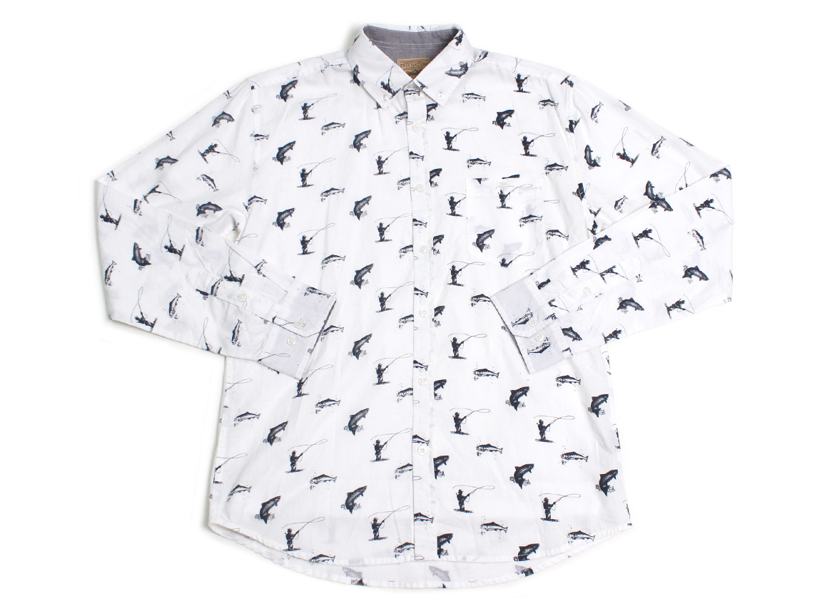 Gon' Fishin' LS Button Up - White
