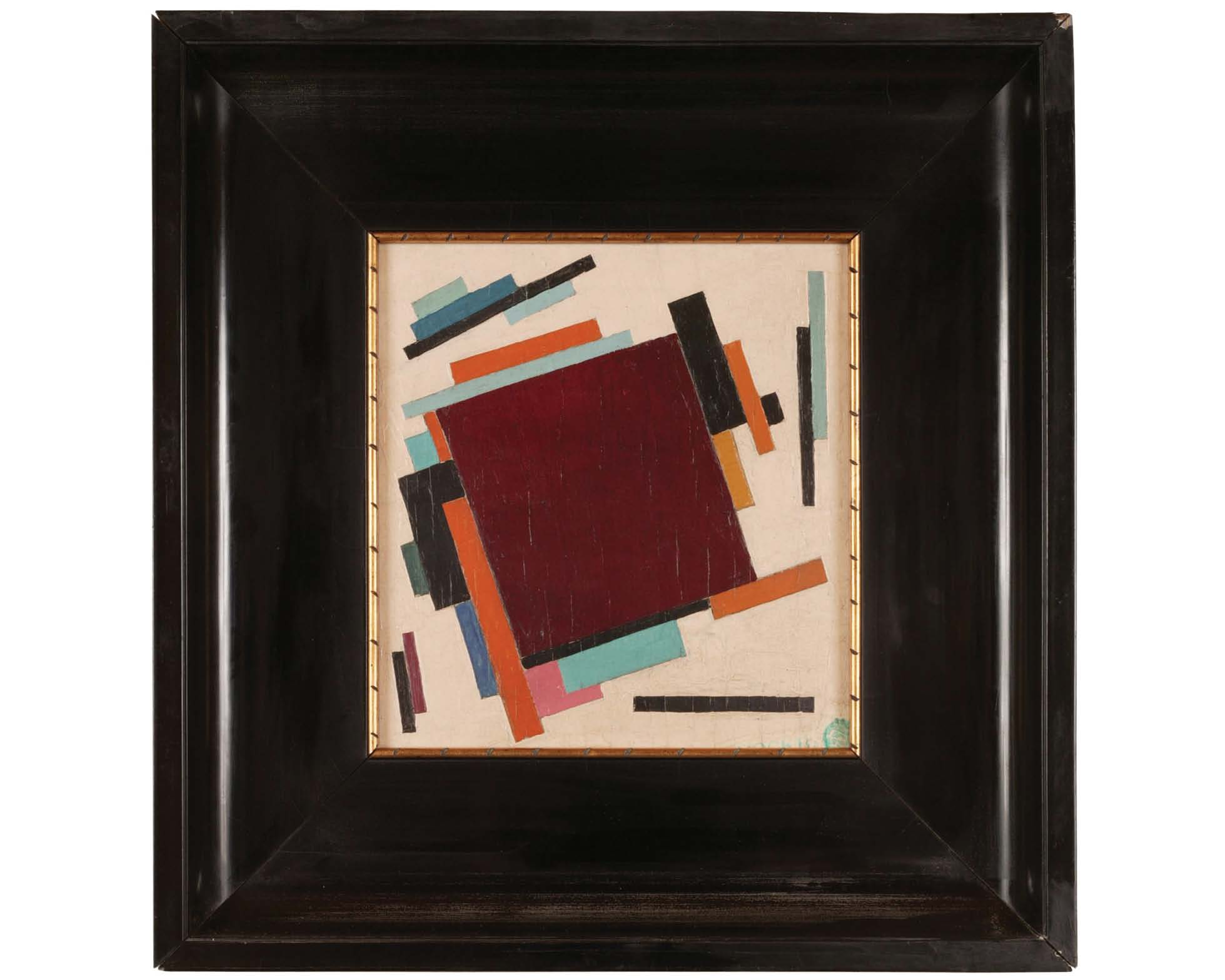 Unattributed. Unsigned. In the style of Kasimir Malevich Stamp in Russian, lower right, reads MOCKBA. Second painting on reverse depicting interior of room. Oil on plywood. 28 x 28 cm.