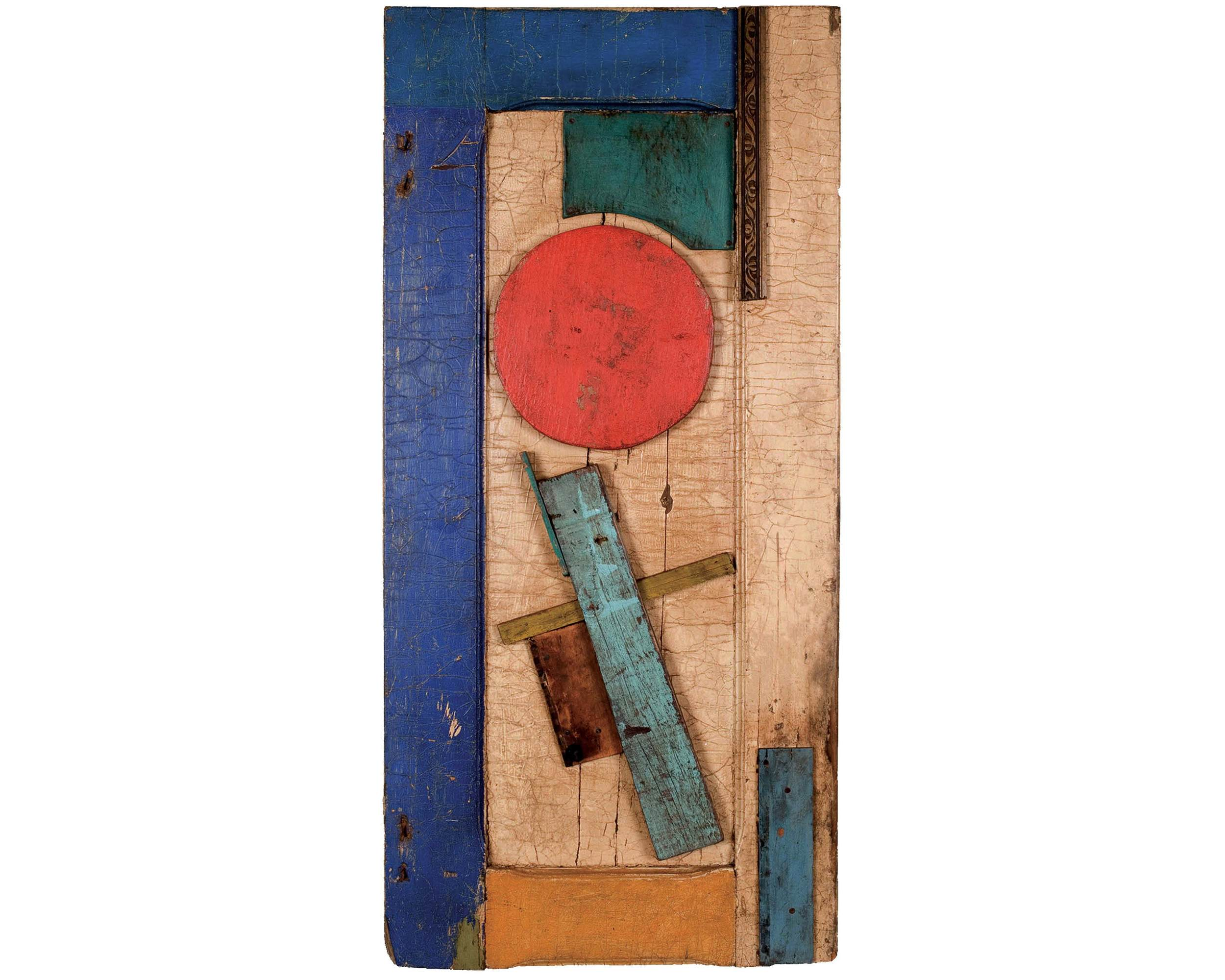 Unattributed. Unsigned.  In the style of Vasilii Ermilov. Construction on wooden plank. 90 x 44 cm.