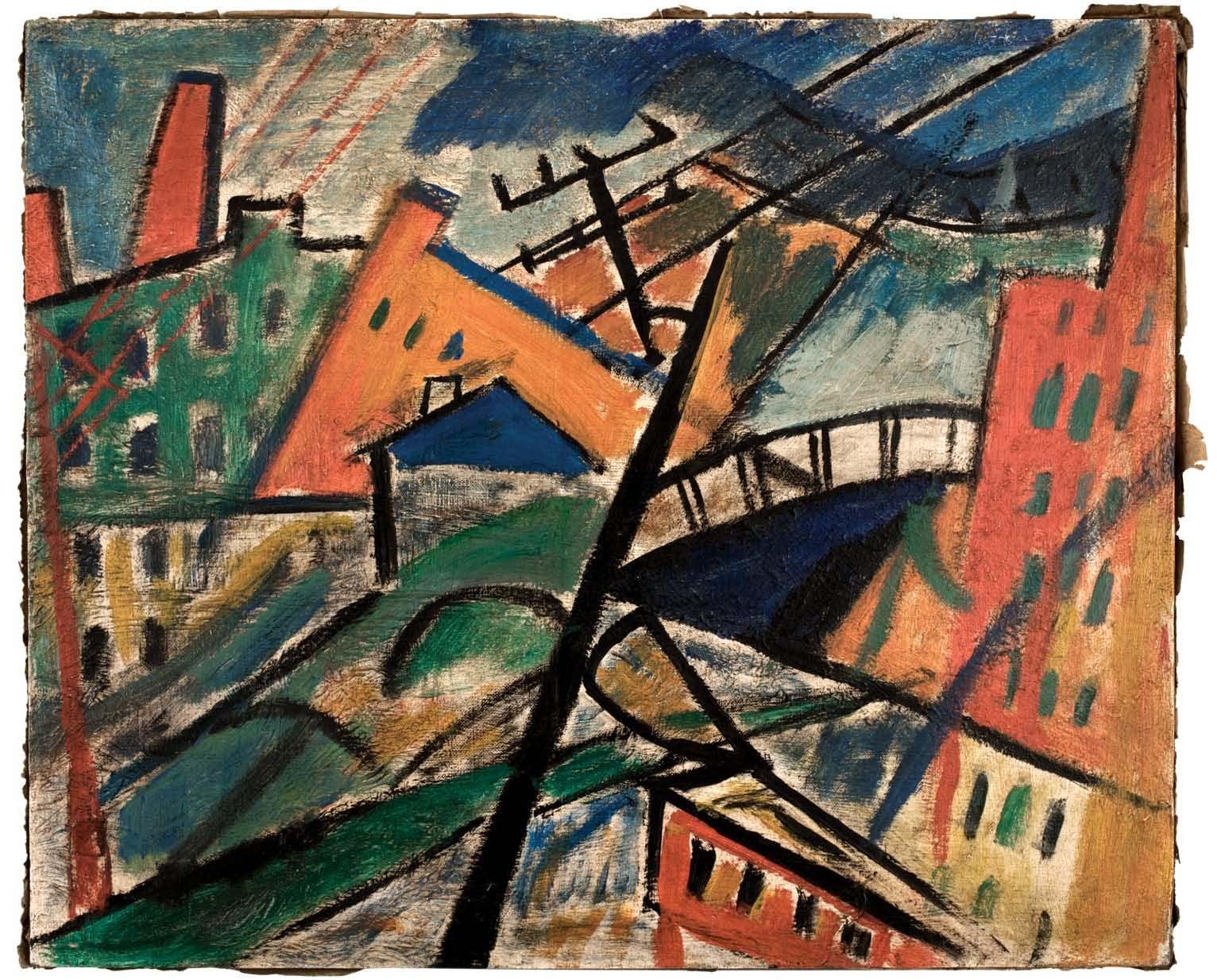 "Unsigned. Unattributed.   In the style of Olga Rozanova. Inscription on reverse translates  to ""TRAM.""  Inscription carved into lower edge of frame reads,  ""U.S.ARMY. Oil on canvas. 50 x 60 cm."
