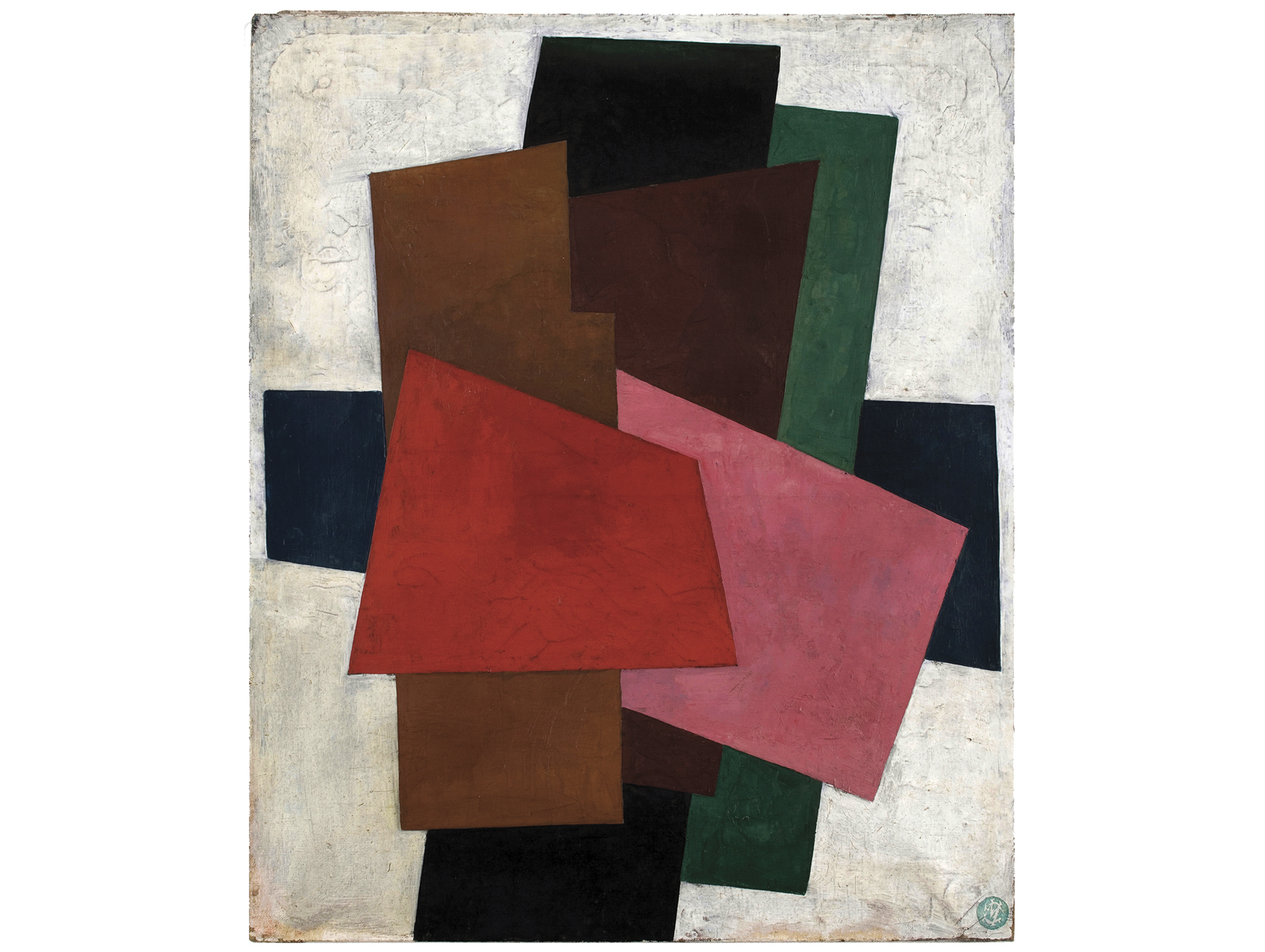 Unattributed. Unsigned. In the style of Lyubov Popova.Undeciphered ink stamp, lower right front.     Oil on canvas, 60 x 50 cm.
