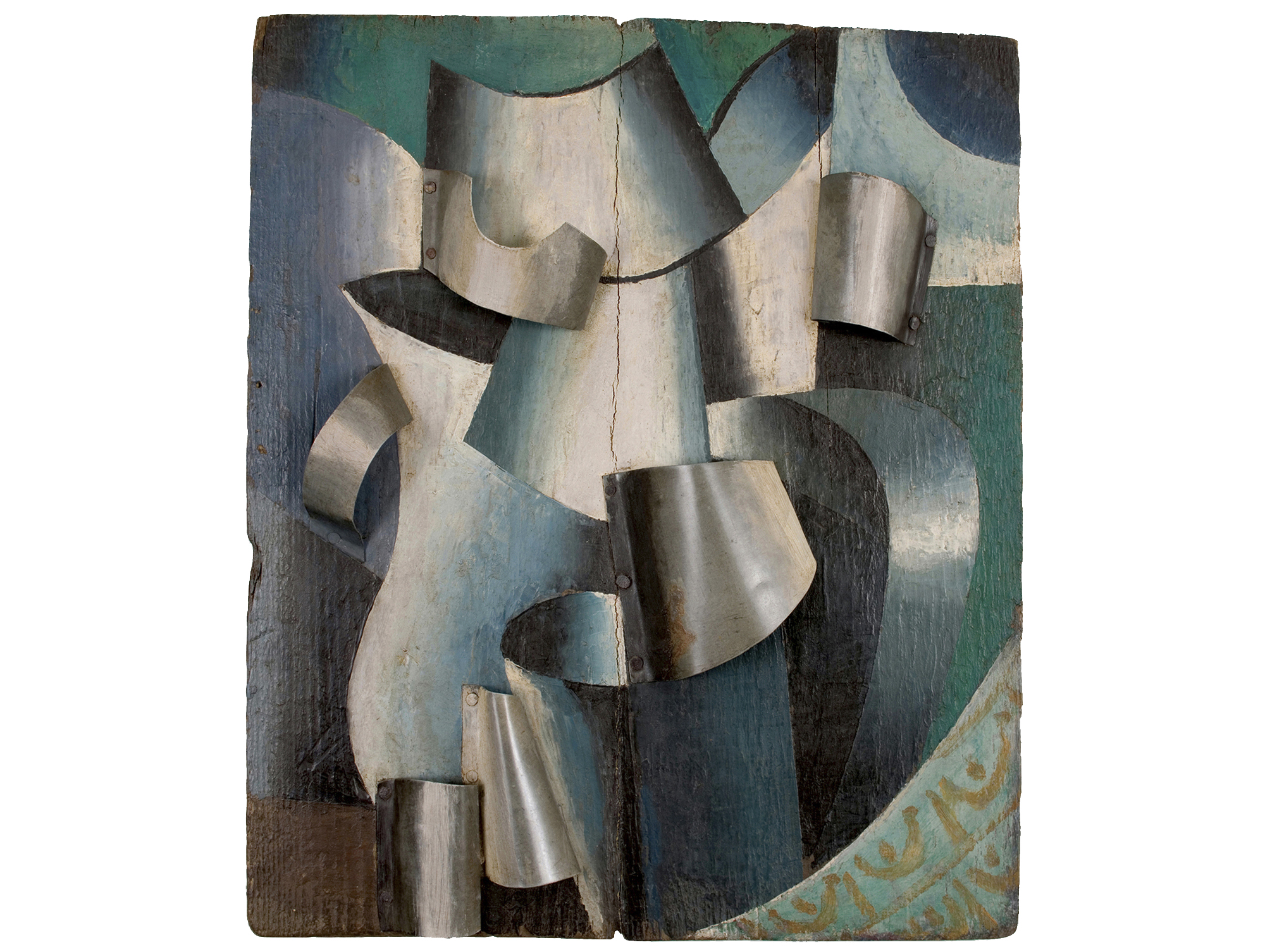 """Unattributed. Unsigned. In the style of Lyubov Popova.Inscription on reverse translates """"Water on a Table""""     Oil and metal on wood, 39 x 33 cm."""
