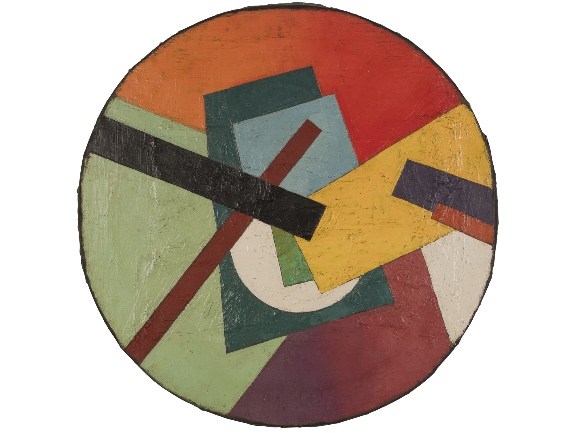 """Unattributed. Unsigned.  In the style of Ivan Kliun.   Text in Russian on reverse translates to """"SUPREMAT SKETCH"""".    Oil on canvas. 50 cm diameter."""
