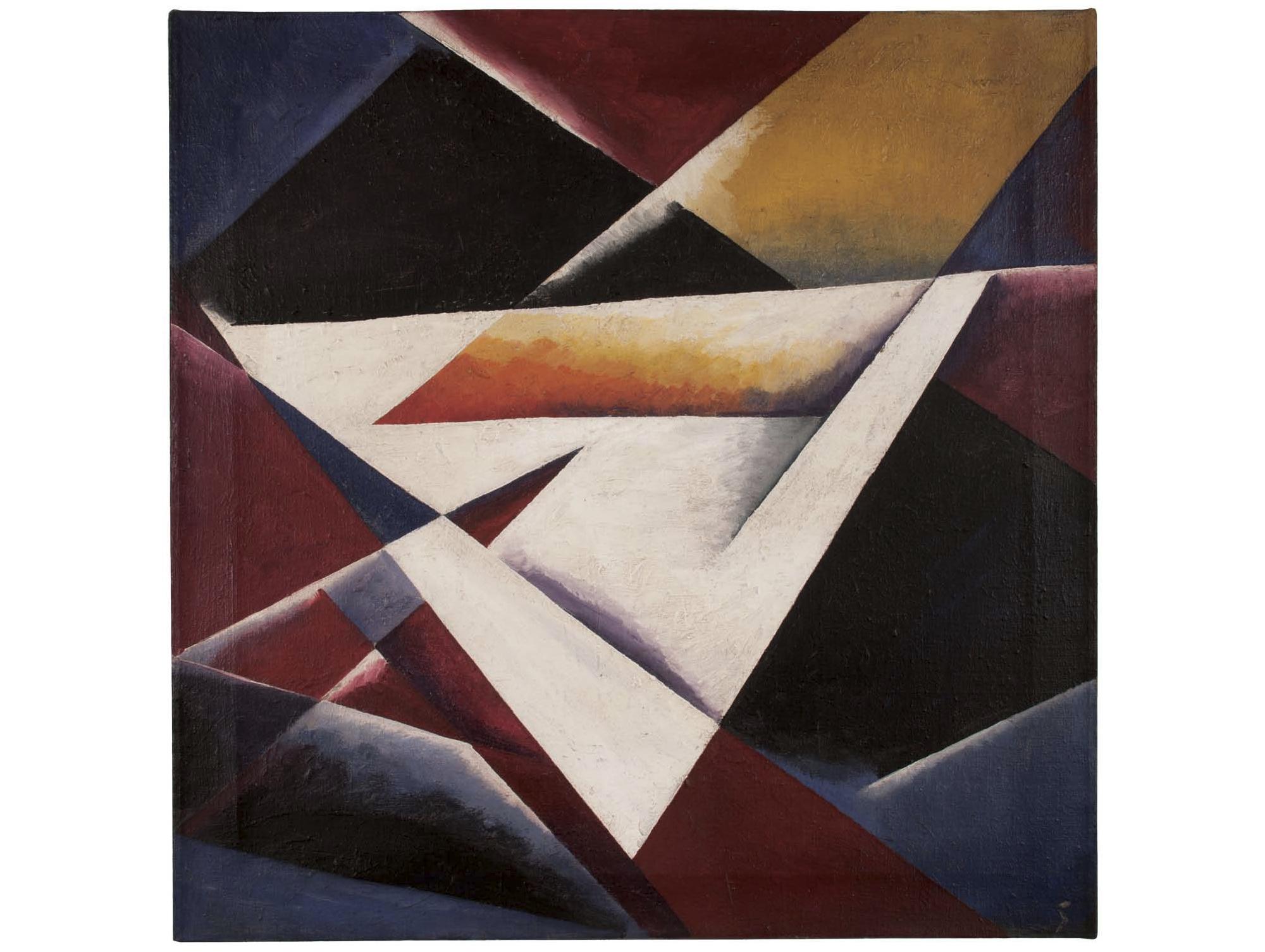 Unattributed. Unsigned. In the style of Lyubov Popova.    Oil on canvas, 60 x 60 cm.