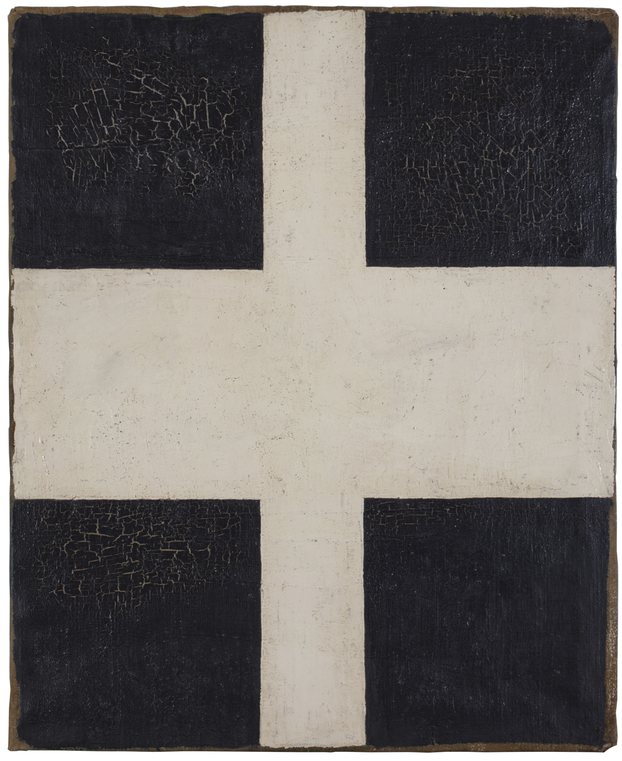 """Unattributed. Unsigned. In the style of Kasimir Malevich.Label on reverse in Russian translates to """"It is verified 1939"""".   Oil on canvas. 60 x 50.5 cm.      Website devoted to this painting:  www.thesuprematistwhitecross.com"""