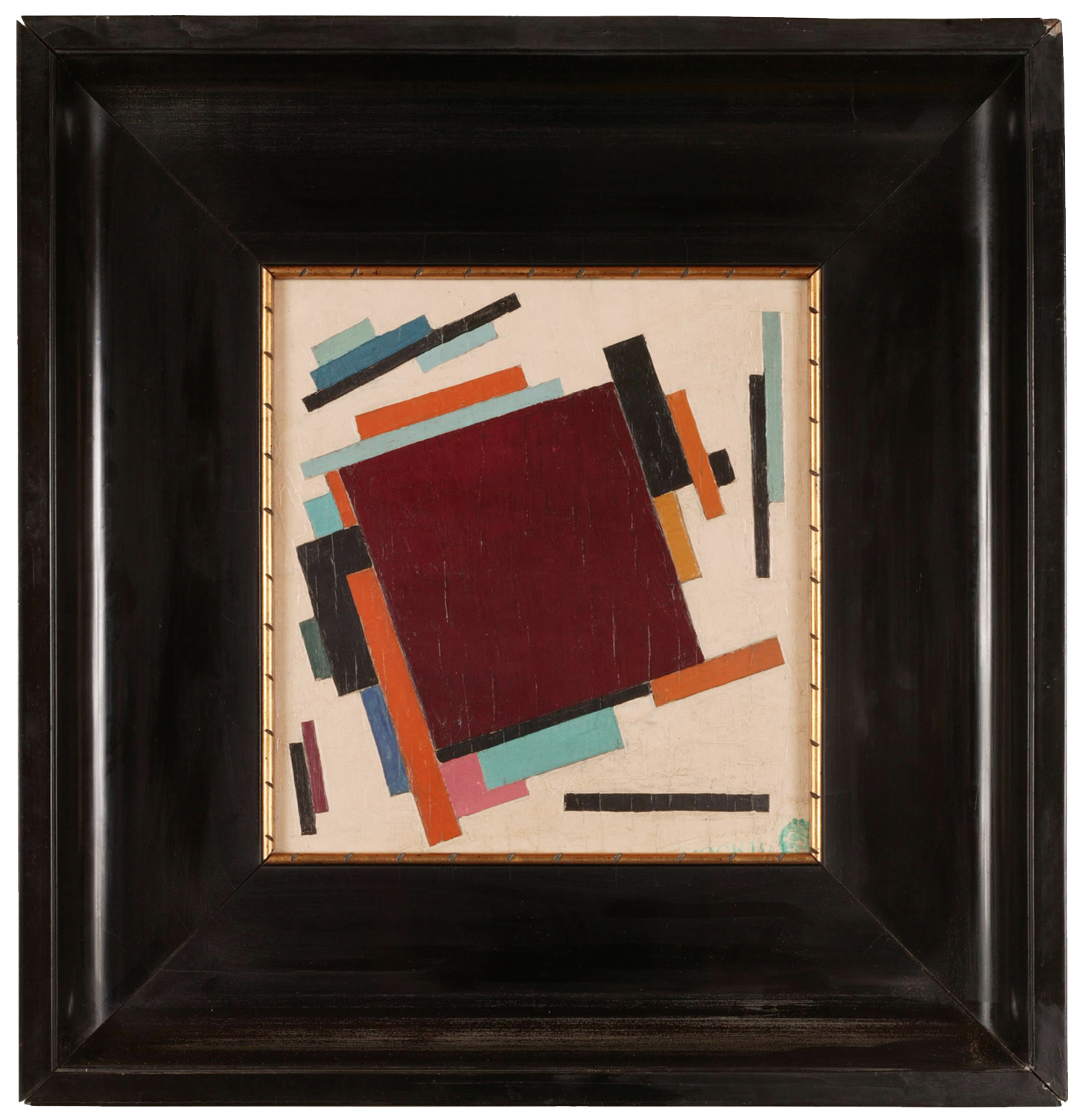 Unattributed. Unsigned.In the style of Kasimir Malevich   Stamp in Russian, lower right, reads MOCKBA.  Second painting on reverse depicting interior of room.   Oil on plywood. 28 x 28 cm.