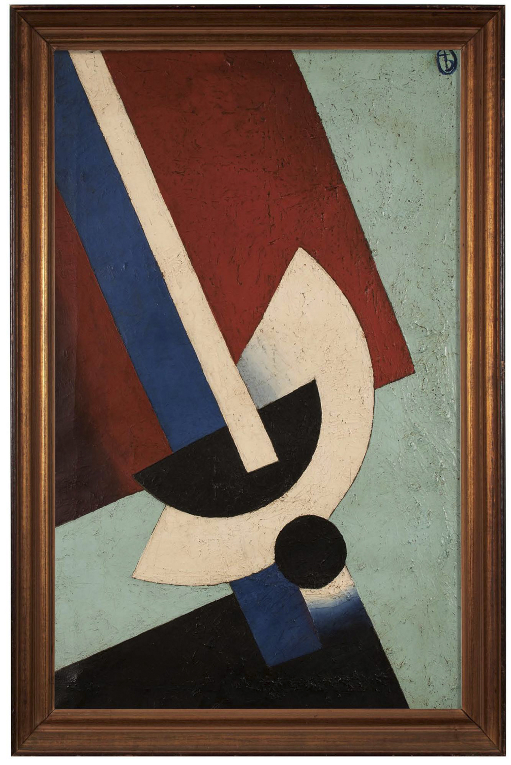 "Unattributed. In the style of Alexander Rodchenko Signed "" b"" (archaic Cyrillic ""yat"" symbol),  upper right front.  Oil on canvas. 50 x 83 cm."