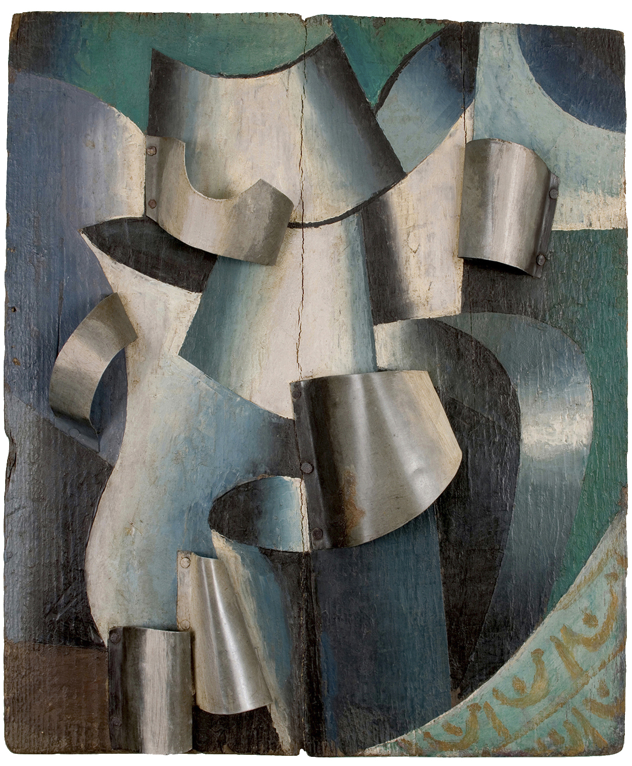 "Unattributed. Unsigned. In the style of Lyubov Popova. Inscription on reverse translates ""Water on a Table""  Oil and metal on wood, 39 x 33 cm."