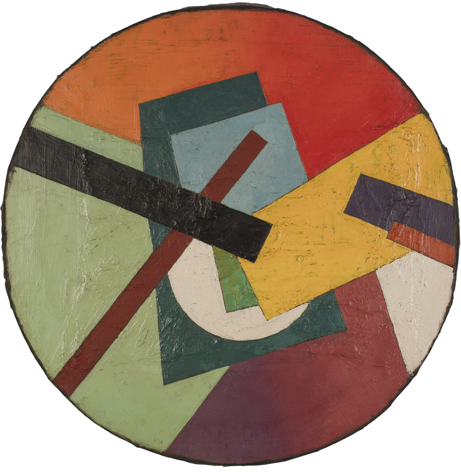 """Unattributed. Unsigned.In the style of Ivan Kliun. Text in Russian on reverse translates to """"SUPREMAT SKETCH"""".Oil on canvas. 50 cm diameter."""