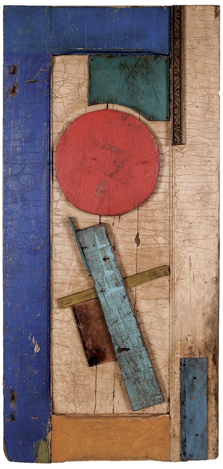 Unattributed. Unsigned. In the style of Vasilii Ermilov.Construction on wooden plank. 90 x 44 cm.
