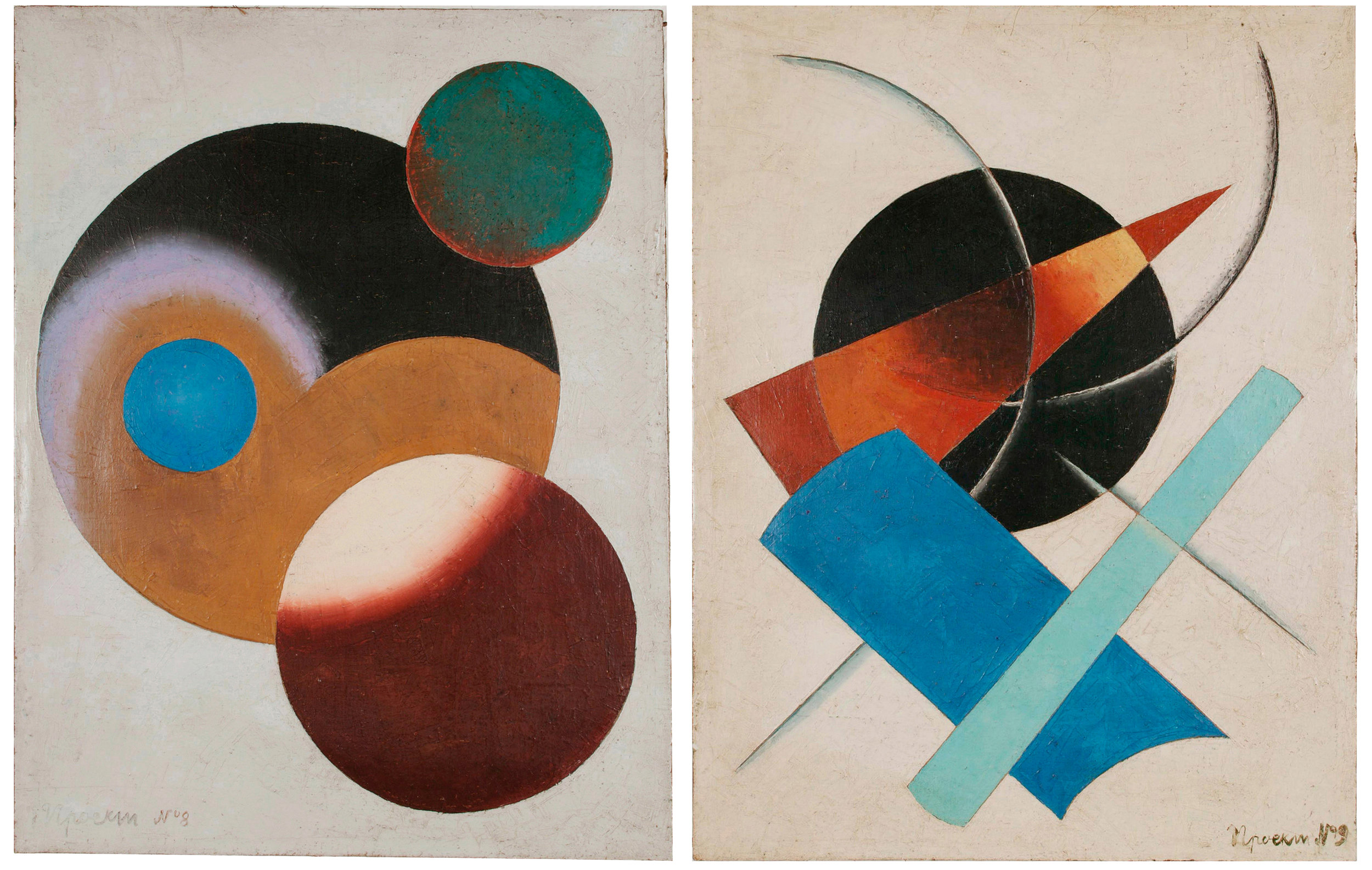 """Left:Unattributed. Unsigned. In the style of Alexander Rodchenko. Text in Russian, lower left front, translates to """"Project No 8"""". Oil on canvas. 65.5 x 50.5 cm.  Right: Unattributed. Unsigned. In the style of Alexander Rodchenko. Text in Russian, lower left front corner, translates to """"Project No. 9"""". Oil on canvas. 65.5 x 50.5 cm."""