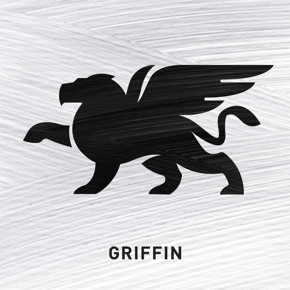 Griffin Valiant soldier - to the death, Vigilance.   In Ireland the worship of the sun in pre-Christian times was often represented by the Griffin. It later became a symbol of gold - 'yellow light'.