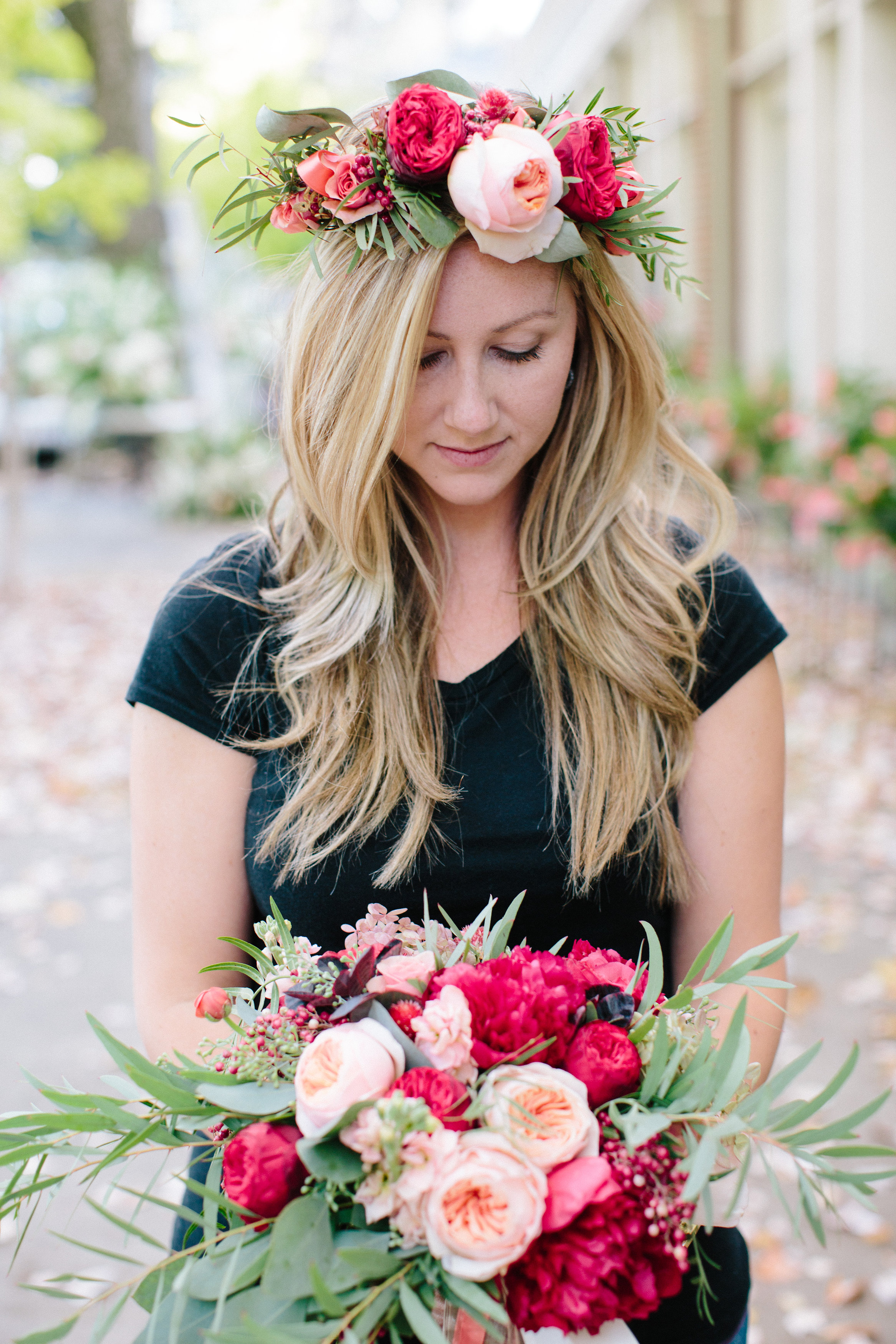 Holly's flower crown and my bouquet!