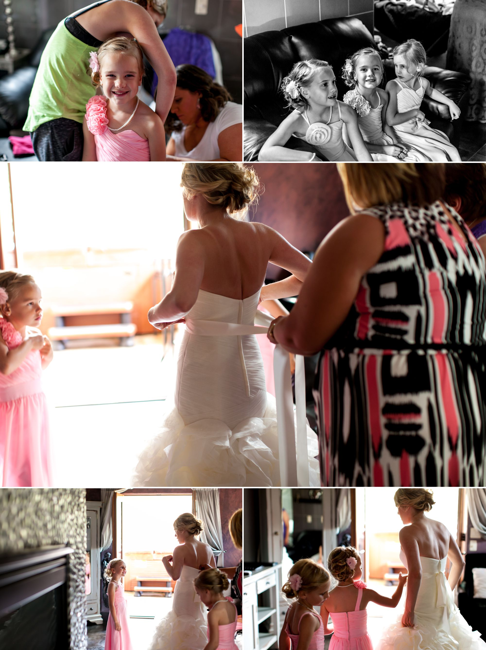 Nothing better than sisters, daughters, nieces and mom helping you get into your gown!