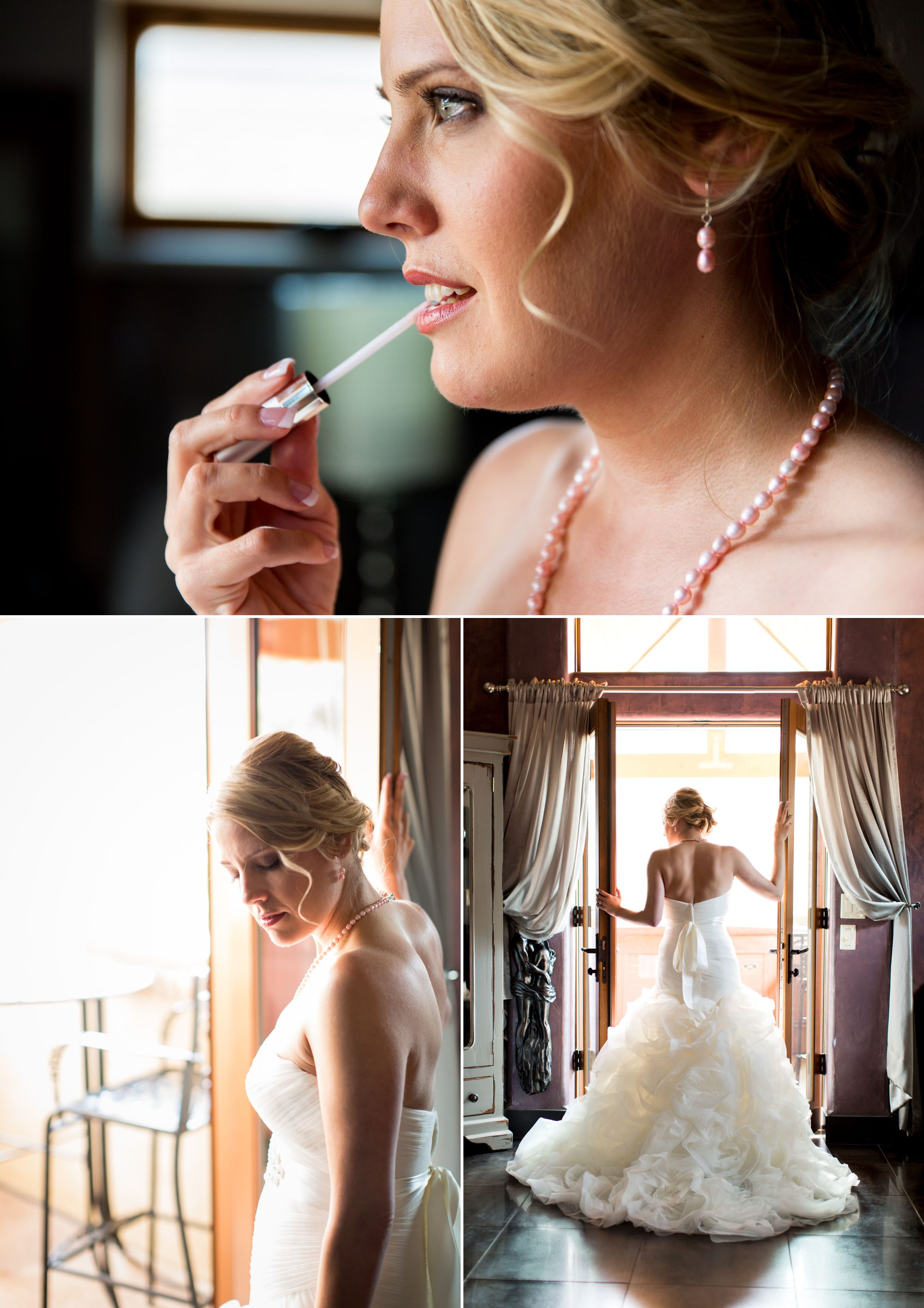 Stunning Vera Wang Wedding Gown in one of Della Terra's Honeymoon suites.