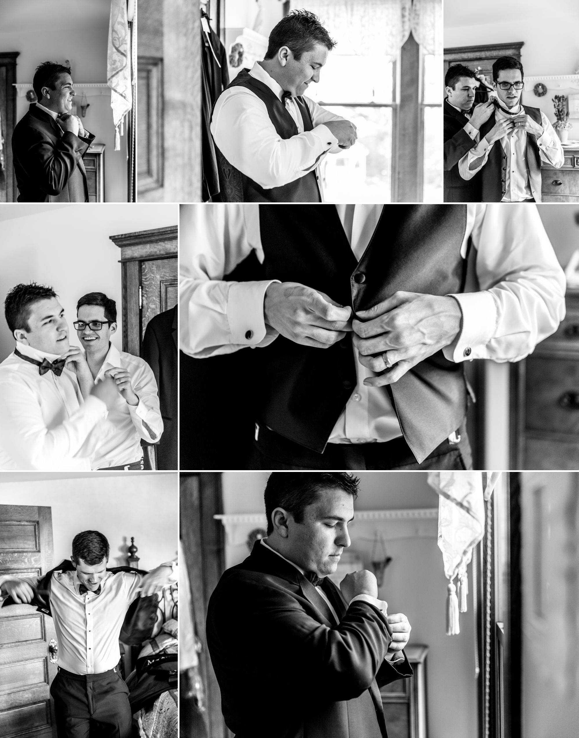 Groom and groomsmen getting ready at the Tapestry House!