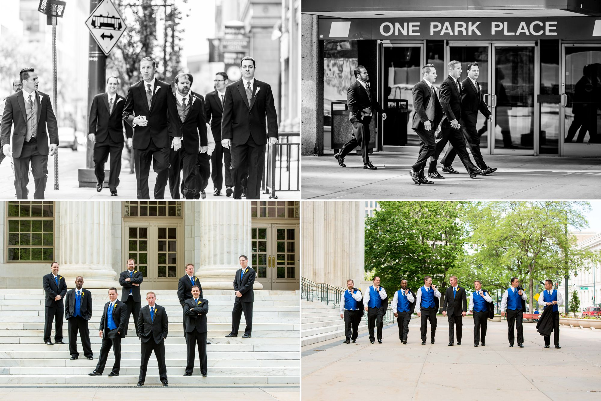 Groom and groomsmen on the steps of Denver's gorgeous courthouse.