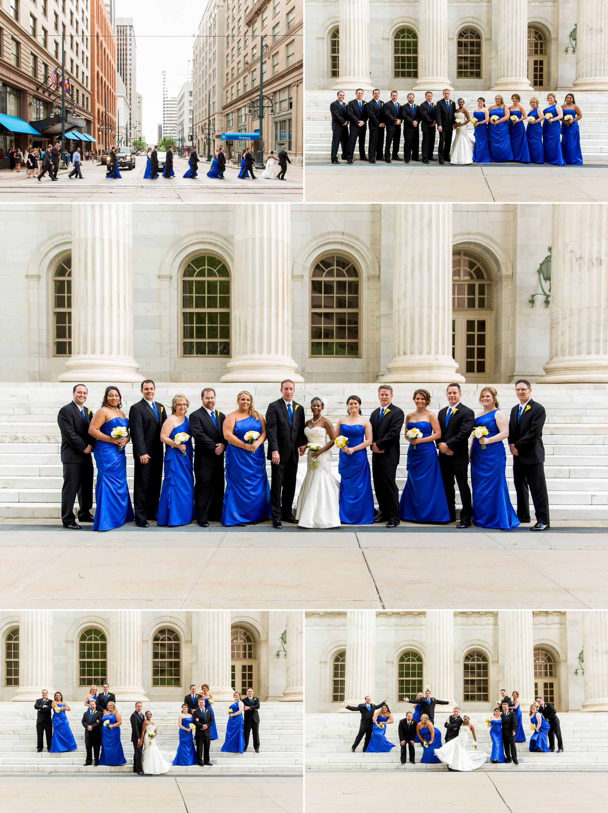 Friends forever!  Bridesmaids are wearing gorgeous blue gowns with a combination of white and yellow flowers as accents!
