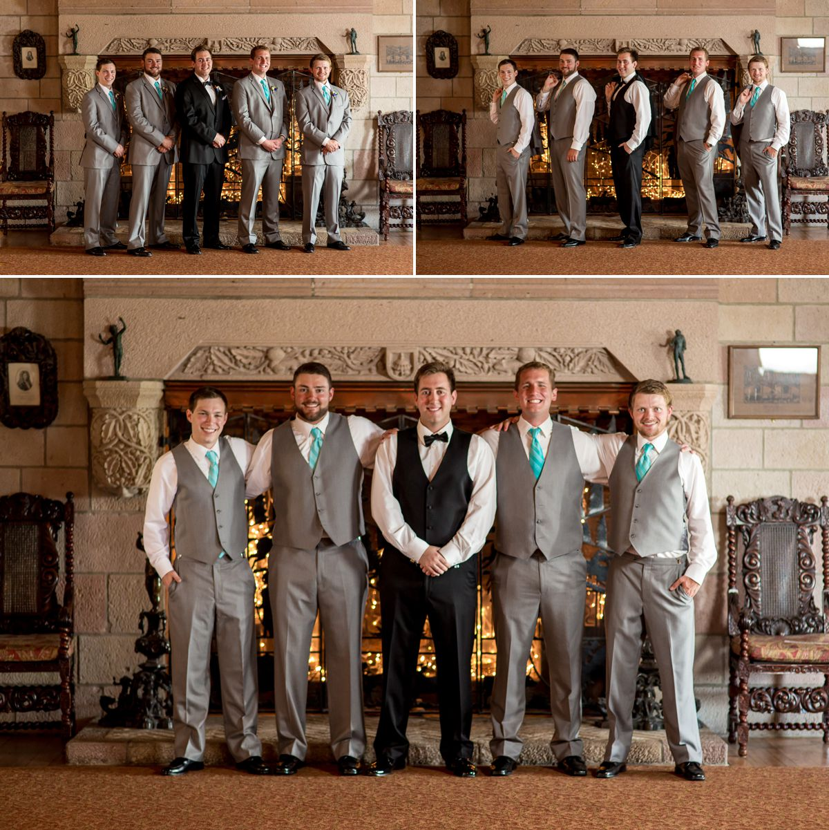Cherokee Castle has some of the most amazing details with huge fireplaces, amazing stone and beautiful art!  What better place that photos with your bridal party!