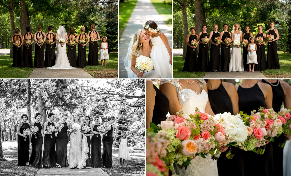 A beautiful bride and her bridesmaids.