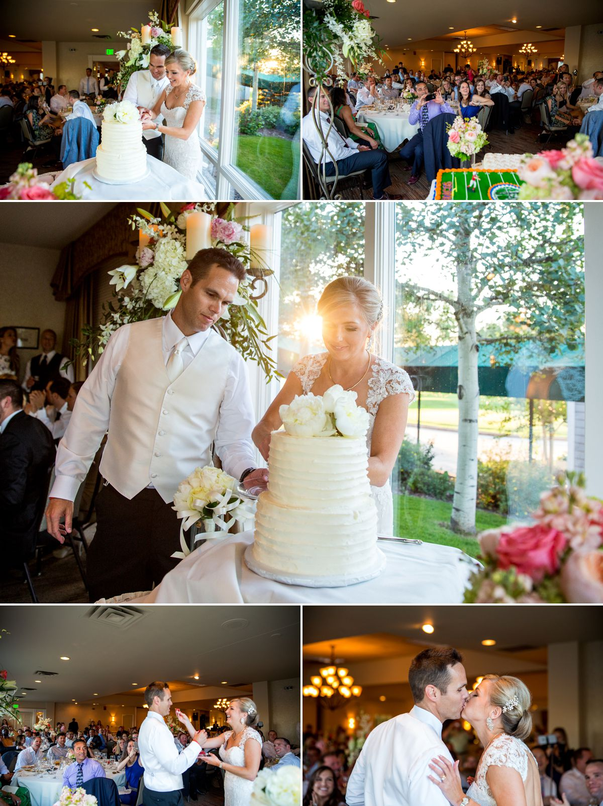 Gorgeous lighting just as the sun started to set during their cake cutting.