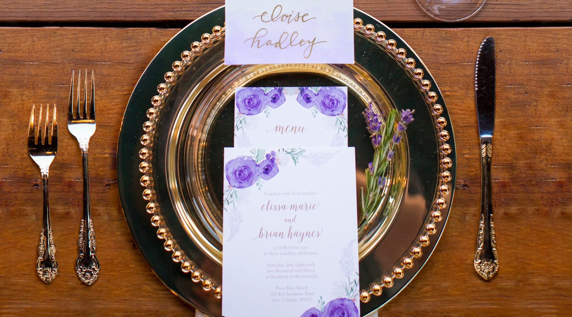 Stationery by Sage Paper, Co., place settings by Alpine Party Rentals