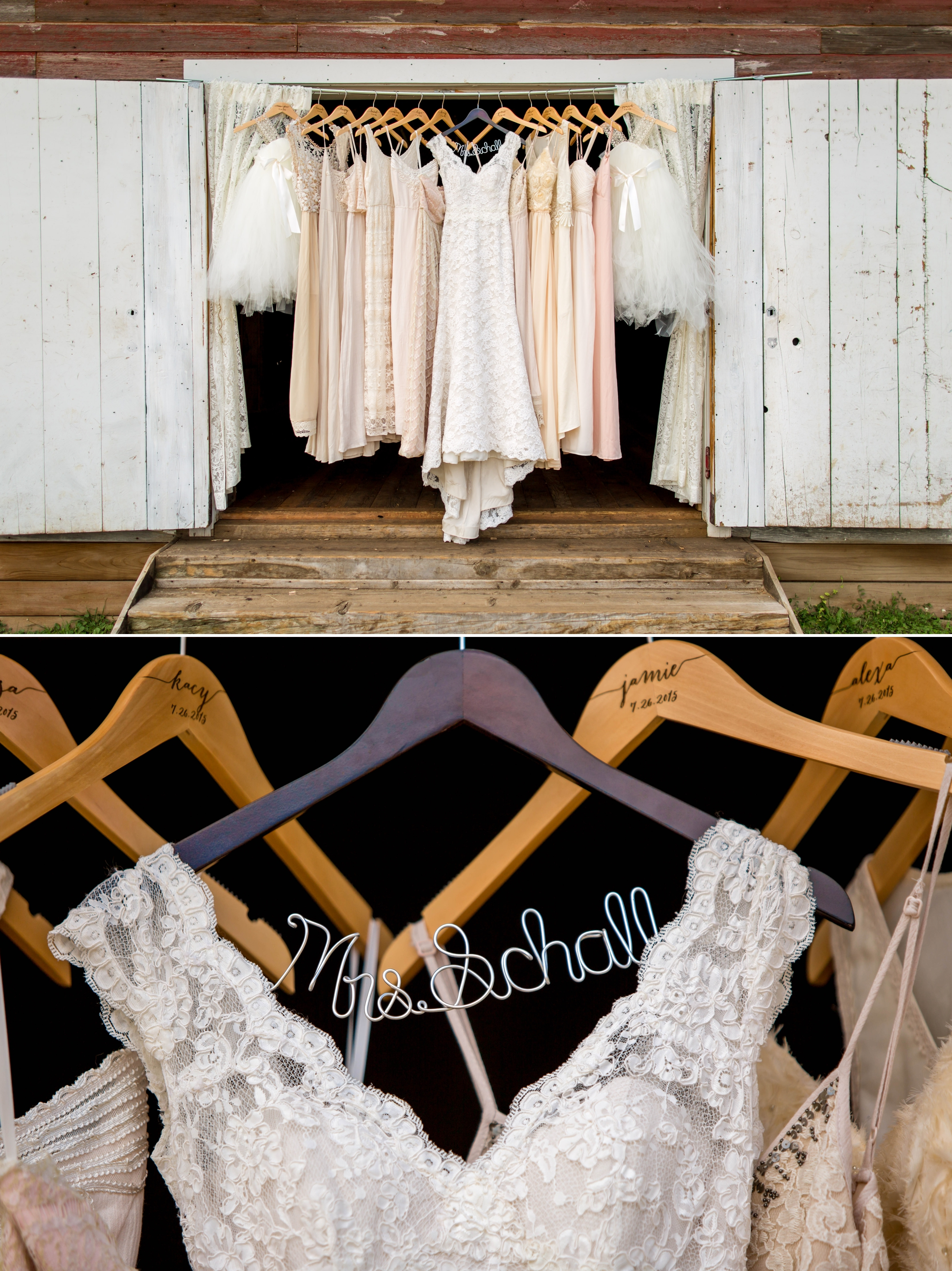Loved the bridesmaids dresses!! Everything from the custom printed hangers, to the amazing colors. Stunning!
