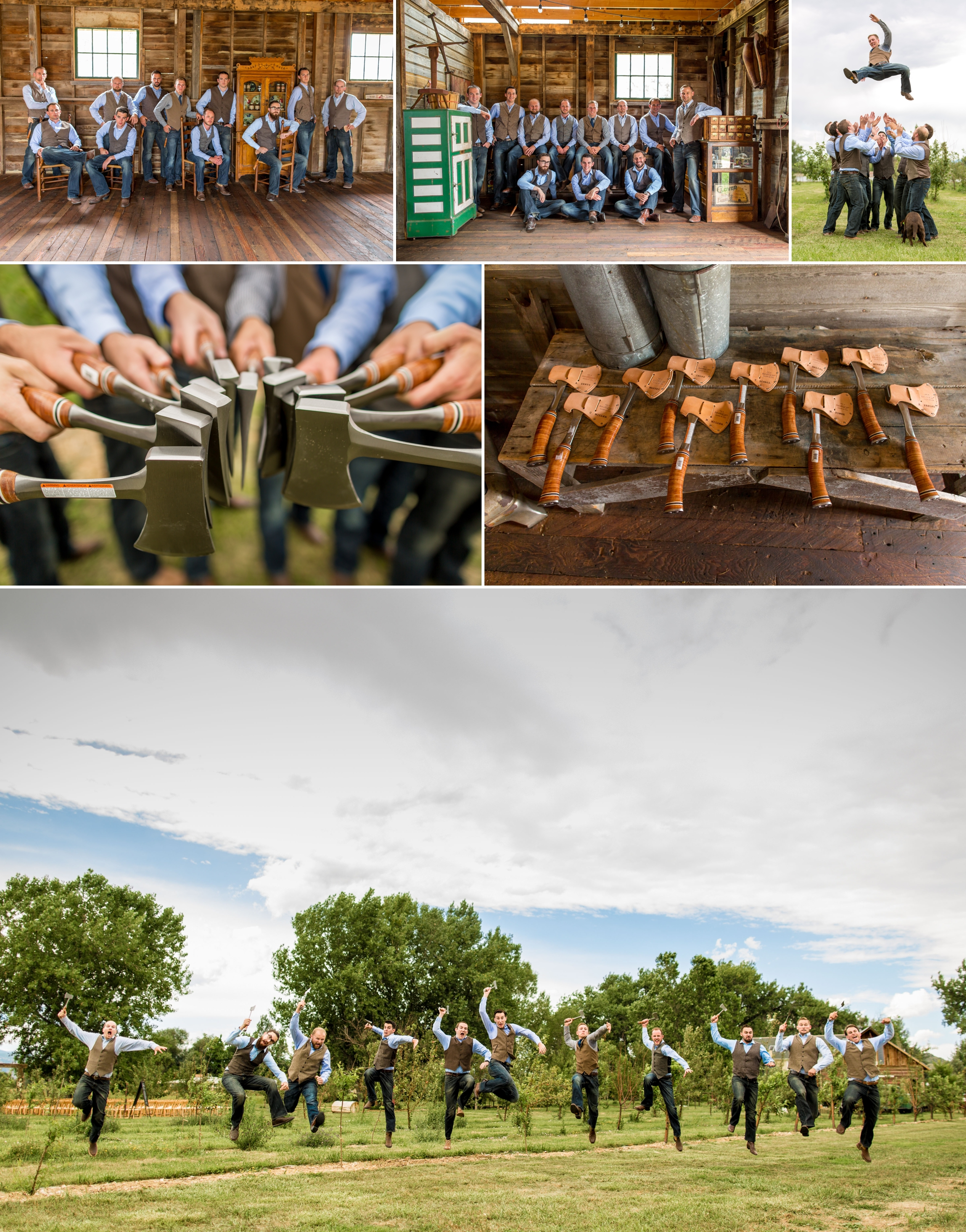 Groomsman photos complete with the rustic barn, hatches and why not, the groom 10' in the air!