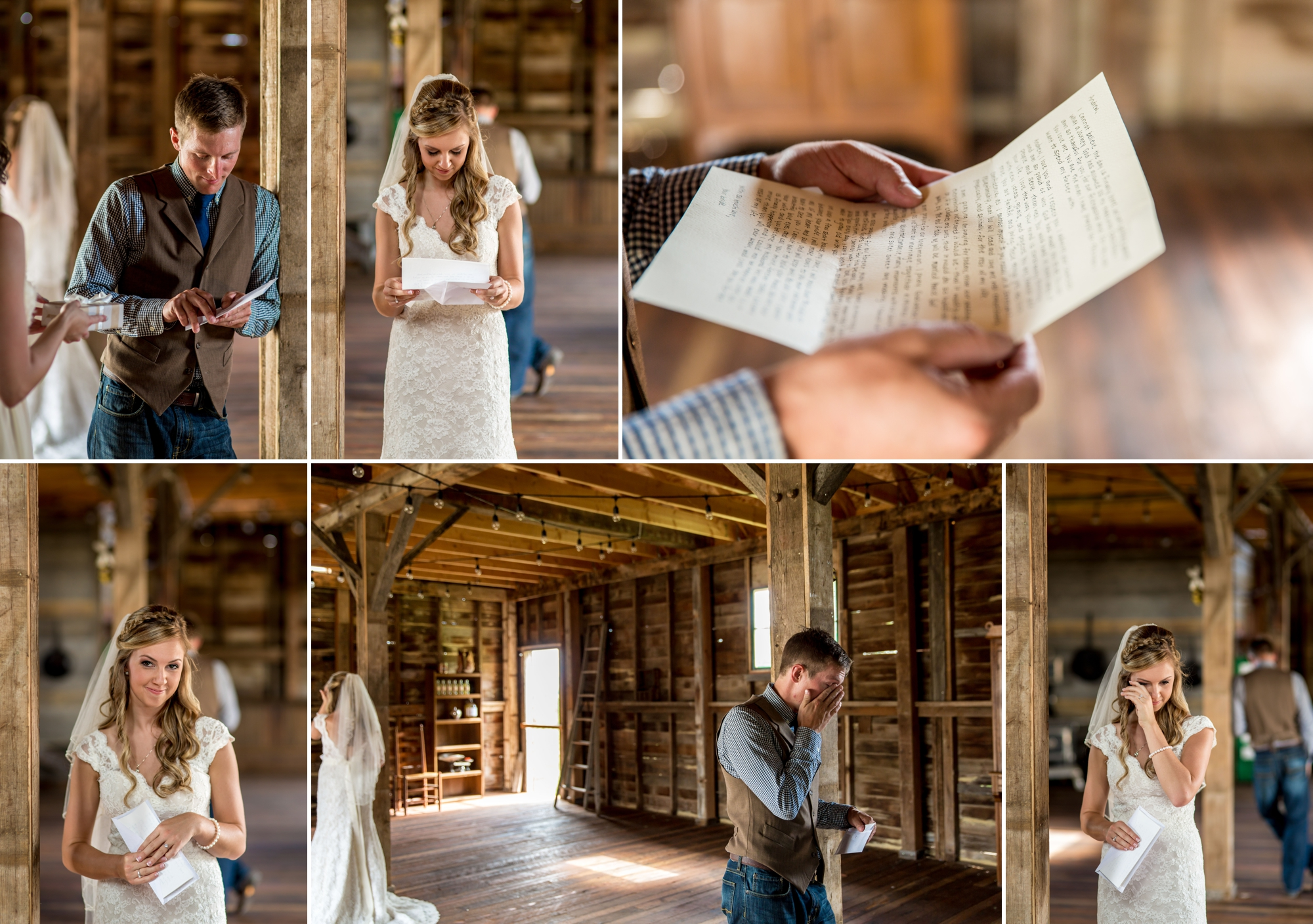 Before the first look, Andrew and Leslie exchanged  cologne they purchased foreach other and letters. Love thisseries as they have no idea what the other is doing, but the last two images were taken within a second of each other and they're both wiping tears.