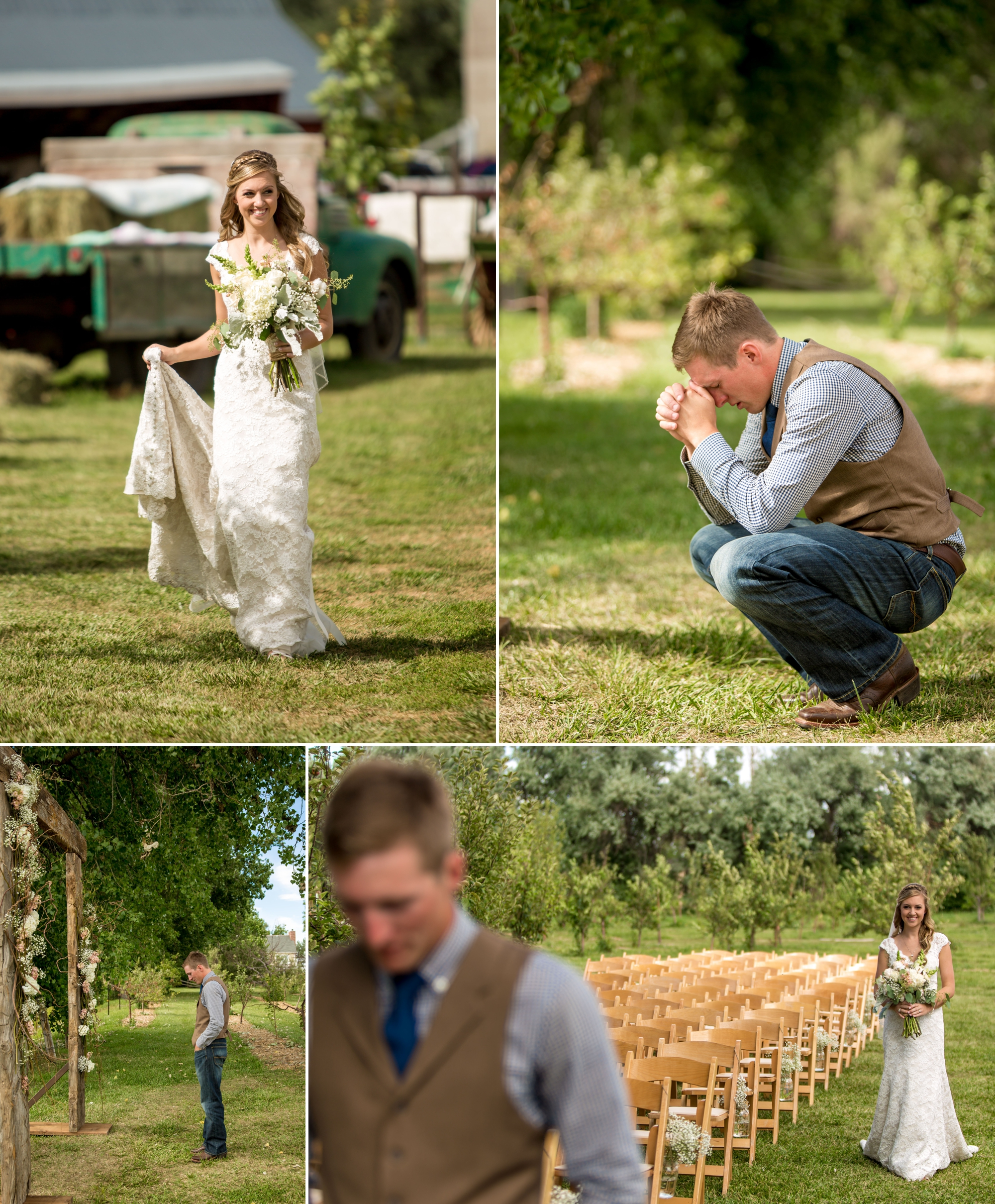 One of the most emotional first looks we've had. As Leslie was approaching the ceremony location, Andrew was knelt down praying and with each step she took, the anticipation grew.