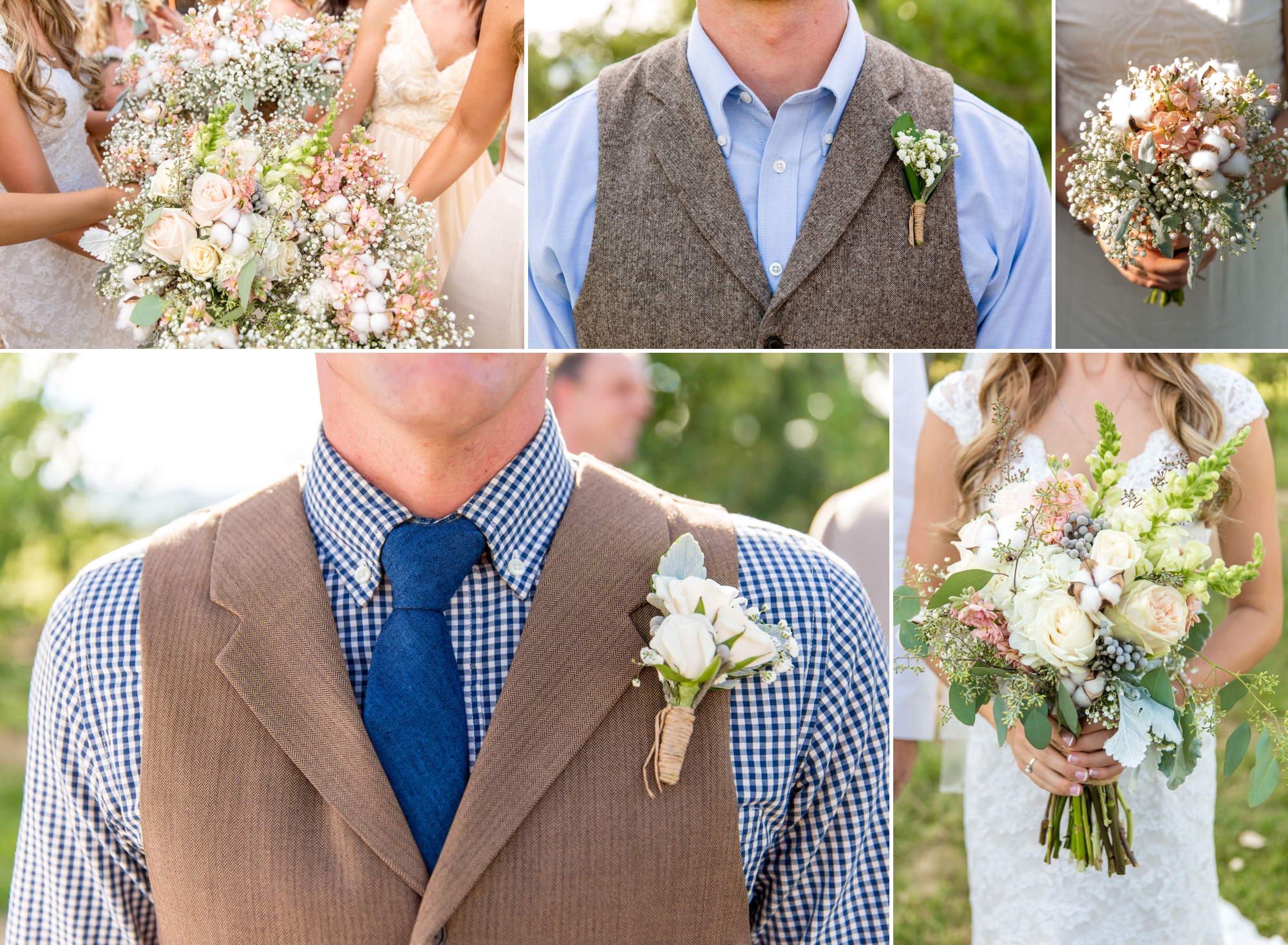 Bridesmaid and bridesbouquets along with the groom and groomsman boutonnieres! Loved the details with the arrangements with hints of cotton to tie in the farm!!